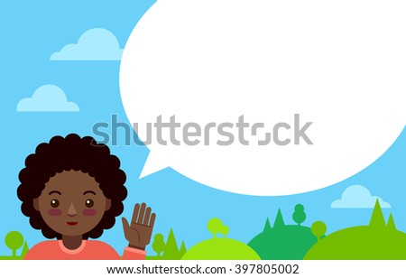African girl with speech bubble