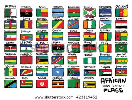African hand drawn flags