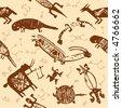 African indigenous tiled wild animal texture - stock vector
