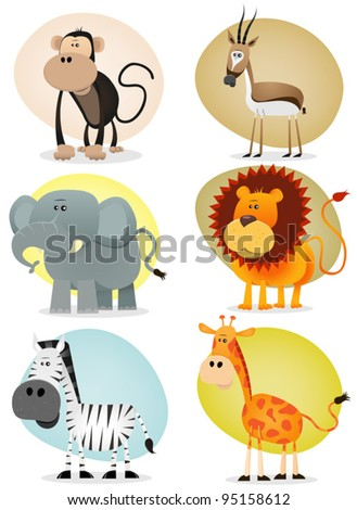 African Jungle Animals Collection/ Illustration of a set of cartoon animals from african savannah, including lion,  elephant,giraffe, gazelle, monkey and zebra - stock vector