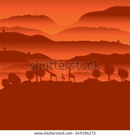 African landscape with animal silhouette  - stock vector