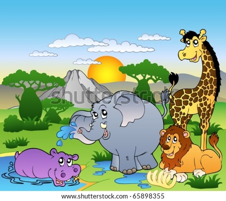 African landscape with four animals - vector illustration. - stock vector