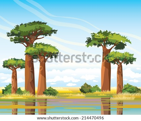 African landscape with green baobabs on a blue sky background. Nature landscape. - stock vector