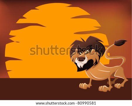 African lion in the sunset - stock vector