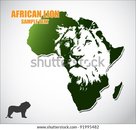 African lion - vector - stock vector