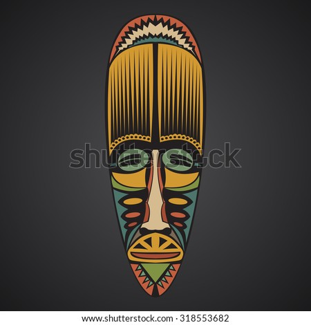 African Mask on a black background - stock vector