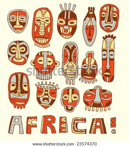 African masks. - stock vector
