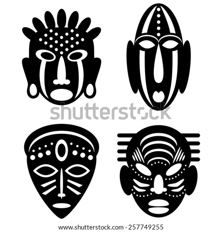 African Masks Isolated On White Vector Stock Vector 257749255 - Shutterstock