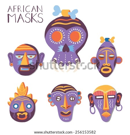 African masks set. illustration. - stock vector