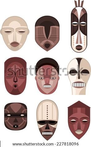 African Masks Traditional Ceremony Ritual Africa Mask, vector illustration cartoon. - stock vector