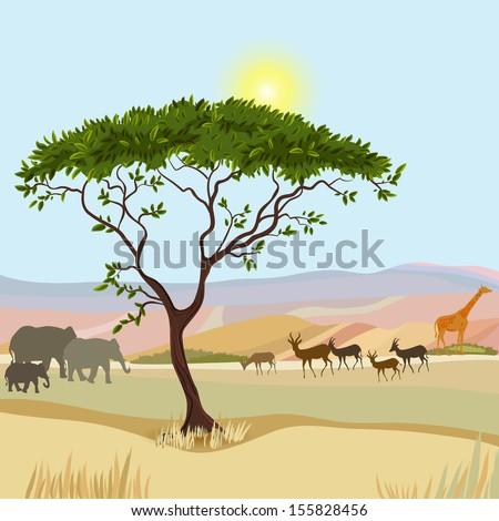 African Mountain idealistic landscape - stock vector