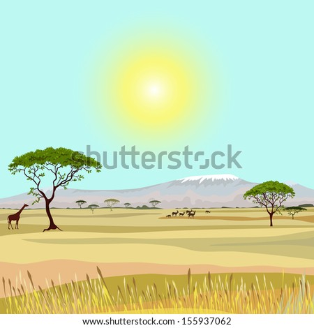 African Mountain idealistic landscape - stock vector