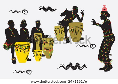 African Musicians dance and play the drums. - stock vector