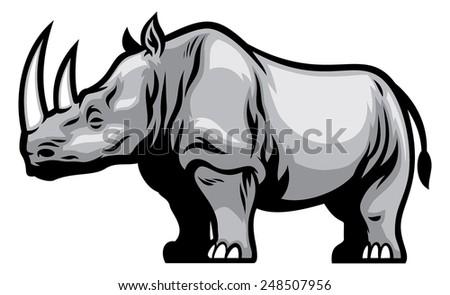 African Rhino - stock vector