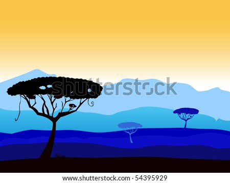 African safari background with tree silhouette. Vector background with dark acacia trees silhouette. High dark blue mountains in background. - stock vector