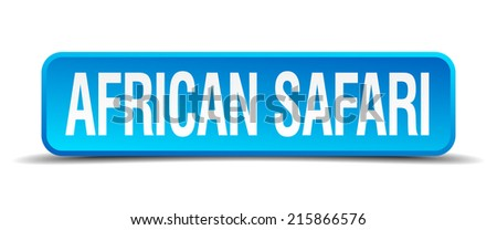 african safari blue 3d realistic square isolated button