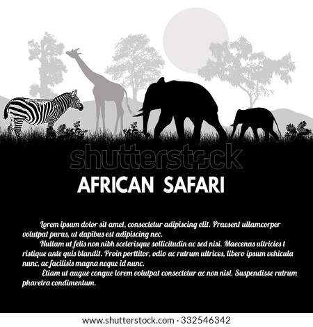 African Safari poster. Wild african animals silhouettes on white with space for your text, vector illustration - stock vector