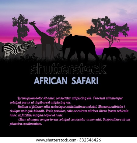 African Safari poster. Wild african animals silhouettes with space for your text, vector illustration - stock vector