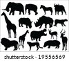 African safari silhouettes collection - stock vector