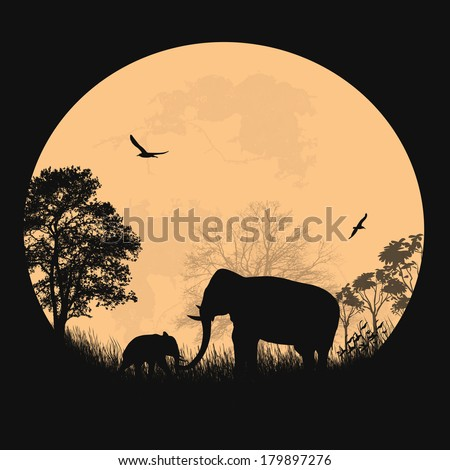 African safari theme with elephants in front of full moon on beautiful place, vecto illustration - stock vector