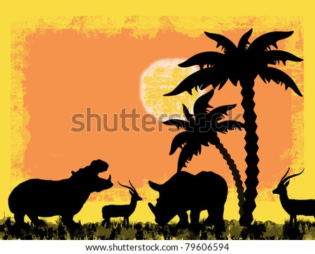 African safari theme with hippo, rhino and antelope, against a grunge background, vector illustration - stock vector