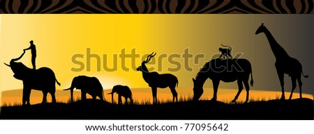 african safari with six different african animals in the sunset - stock vector