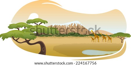 African savannah landscape vector cartoon - stock vector