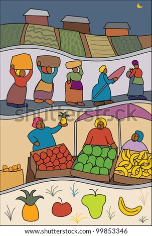 African scene with fruit vendors at market - stock vector