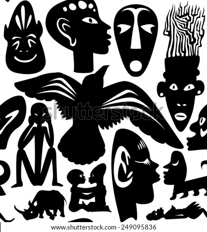 African seamless vector pattern, ancient tribal background, black - stock vector