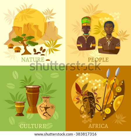 African set Africa culture and traditions african tribes vector illustration - stock vector