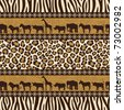 African style seamless pattern with wild animals and skin patterns. - stock vector