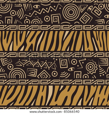 African style seamless pattern with wild animals skins and ancient symbols - stock vector