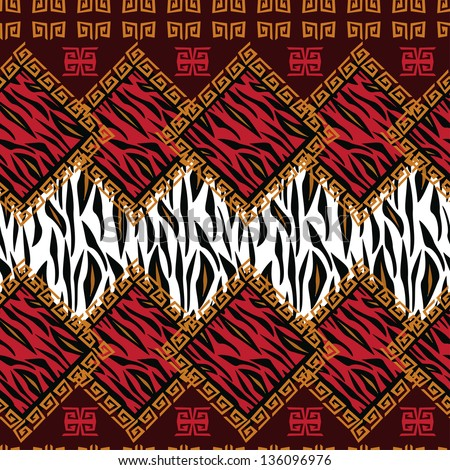 African style seamless with wild animal skin pattern - stock vector