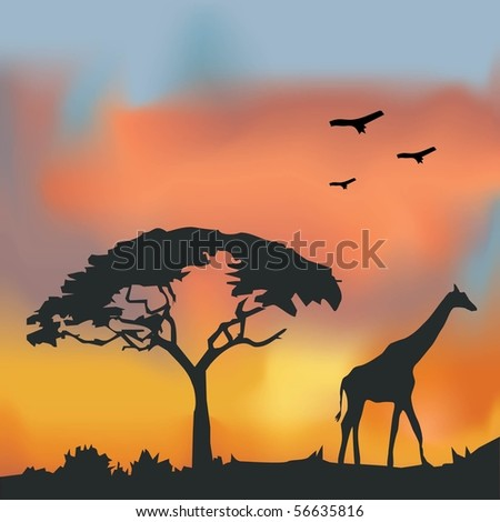 African Wildlife Background. Nature Background Series. - stock vector