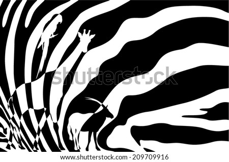 African wildlife background - zebra hide with antelope, giraffe and parrot silhouettes - black and white vector design - stock vector