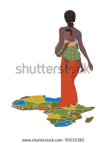 African woman - stock vector