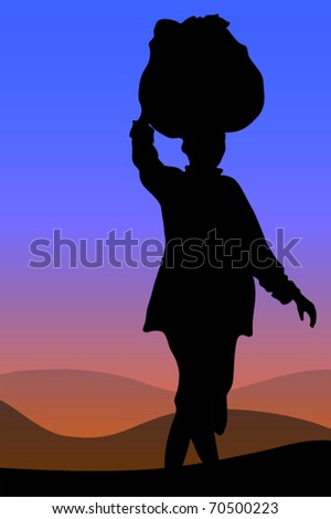 African Woman - Silhouette of a typical African woman, pregnant and carrying heavy load on her head - She is walking - on her way back home as the sun is setting. - stock vector