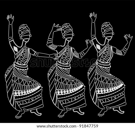 African women have fun dancing on a white background - stock vector