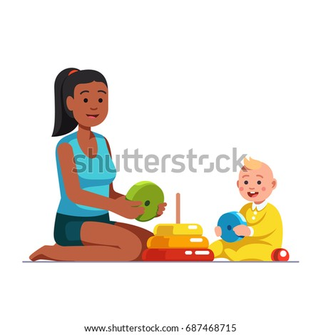Family Playing Together Clipart Afro American Babysitt...