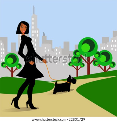 Afro-American woman walking Scottish Terrier dog in park. - stock vector