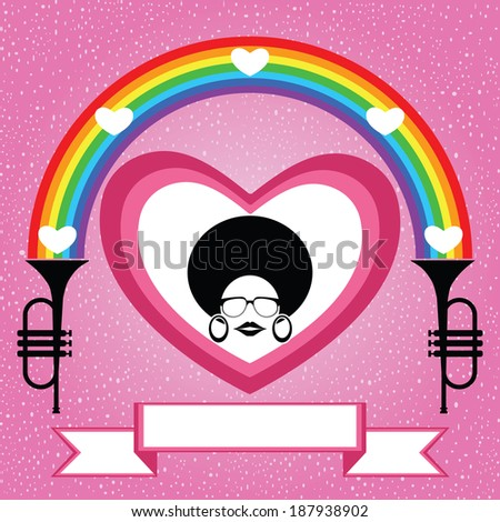 afro lady on the heart with rainbow and trumpet - stock vector
