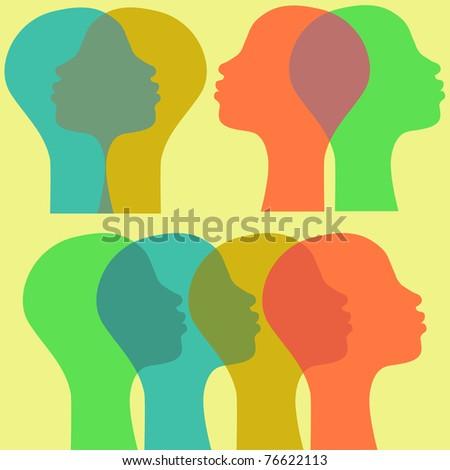 Afro women in profile - stock vector