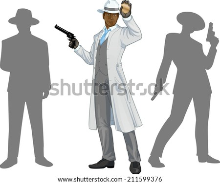 Afroamerican police chief shows his badge with a gun and people silhouettes retro styled cartoon character with colored lineart - stock vector