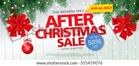 After Christmas sale. Vector banner - stock vector