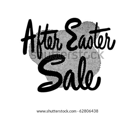 After Easter Sale - Ad Header - Retro Clipart - stock vector