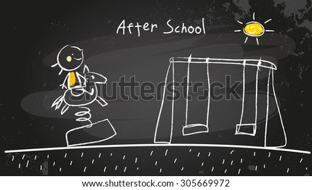 After school activities, kid at playground. Chalk on blackboard vector concept doodle style hand drawn illustration.  - stock vector