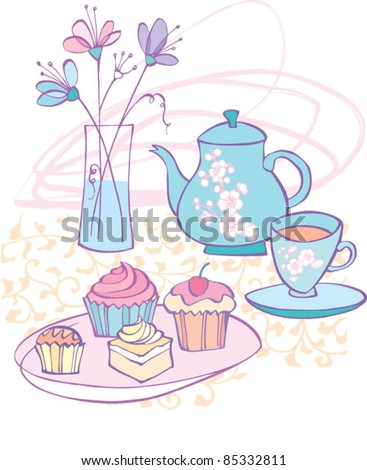 Afternoon tea and cakes with flowers - stock vector
