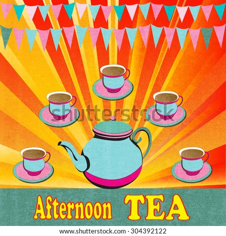 Afternoon Tea, retro flyer for a party or cafe