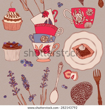 Afternoon tea. Seamless pattern. - stock vector
