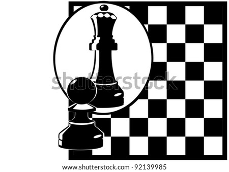 Against the background of a chessboard Pawn looks in the mirror and sees himself as the Queen. Black and white illustration.